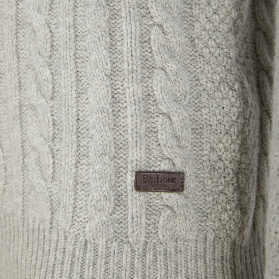 BARBOUR L/S CHUNKY CABLE CREW NECK JUMPER MKN1254 FOG