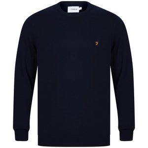 FARAH L/S MULLEN COTTON JUMPER F4GS9067 NAVY