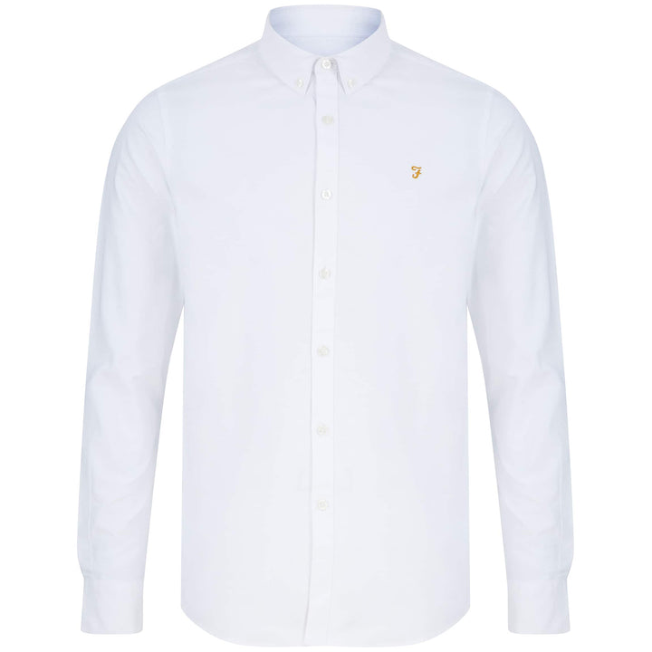 FARAH L/S BREWER OXFORD SLIM FIT SHIRT F4WS4054 WHITE