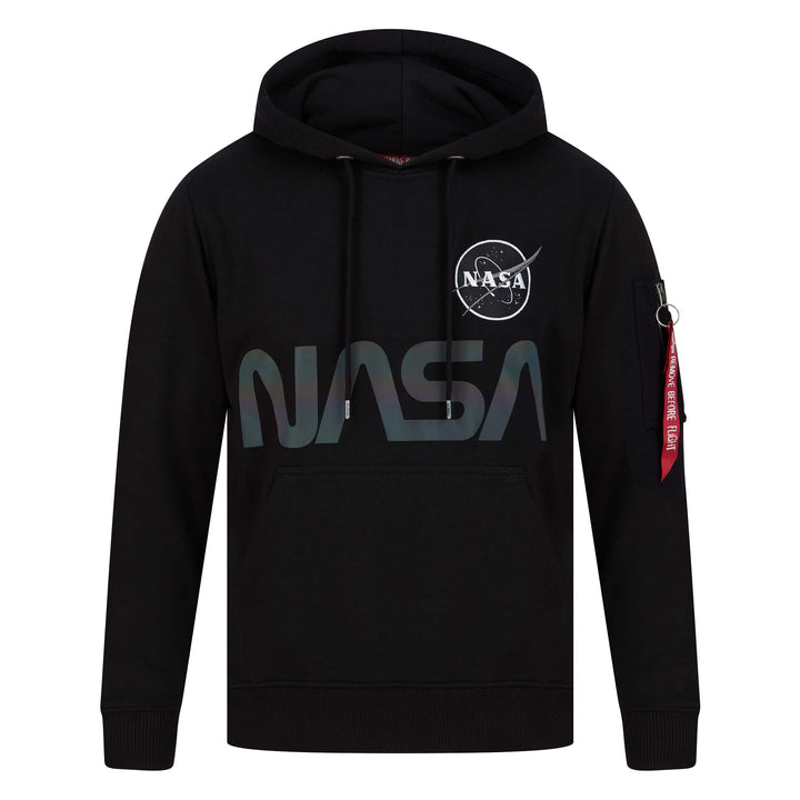 ALPHA INDUSTRIES L/S NASA RAINBOW REFLECTIVE HOODY 128354 BLACK