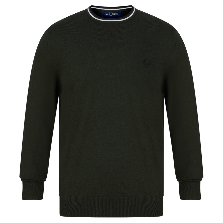 FRED PERRY CLASSIC CREW NECK JUMPER K9601 HUNTING GREEN (M12)