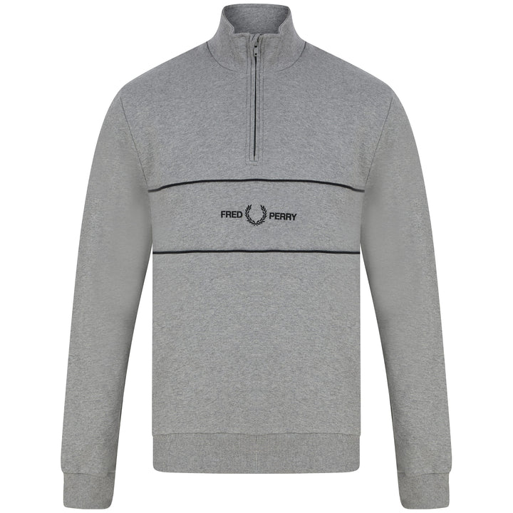 FRED PERRY L/S HALF ZIP EMBROIDERED PANEL JUMPER M9592 STEEL MARL (420)