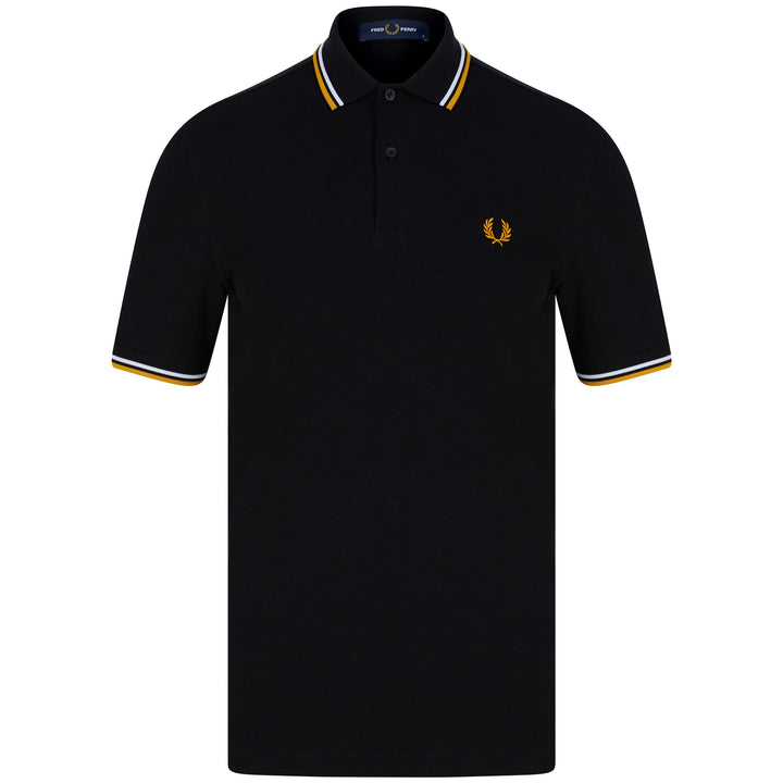 FRED PERRY S/S TWIN TIPPED LOGO BRANDED POLO M3600 SNW/GLD/BLK