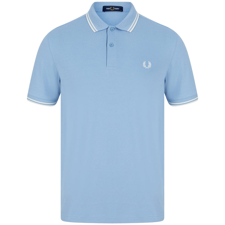 FRED PERRY S/S TWIN TIPPED LOGO BRANDED POLO M3600 SKY/SNWWHT