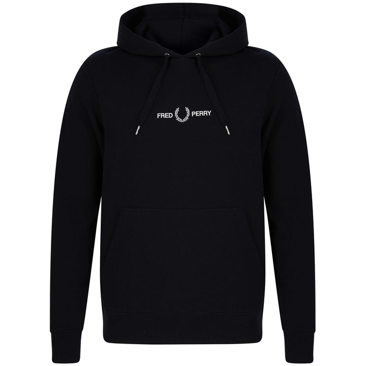 FRED PERRY L/S GRAPHIC HOODY M8673 BLACK