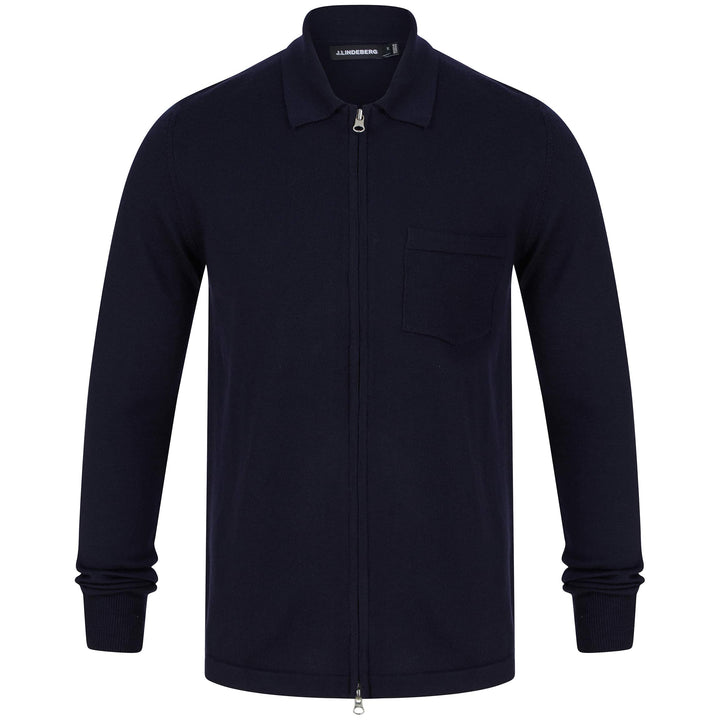 J LINDEBERG NYLE PERFECT MERINO POCKET CARDIGAN FMKW02909 NAVY