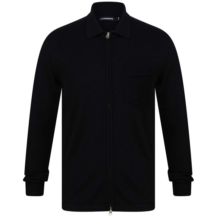 J LINDEBERG NYLE PERFECT MERINO POCKET CARDIGAN FMKW02909 BLACK