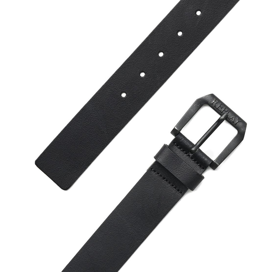 REPLAY BUCKLE LEATHER BELT AM2417 A3001 110 BLACK