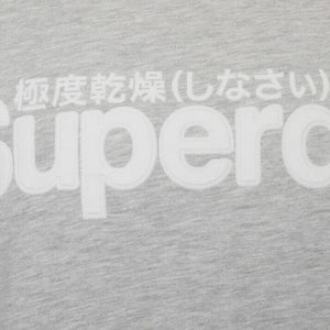 SUPERDRY L/S CORE LOGO FAUX SUEDE JUMPER M2010106A COLLECTIVE LIGHT MARL