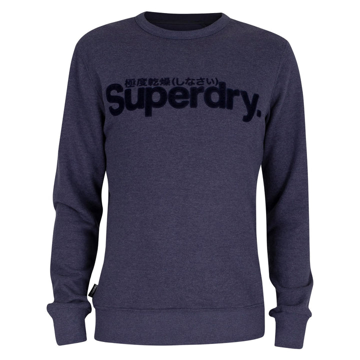 SUPERDRY L/S CORE LOGO FAUX SUEDE JUMPER M2010106A PRINCEDOM BLUE MARL