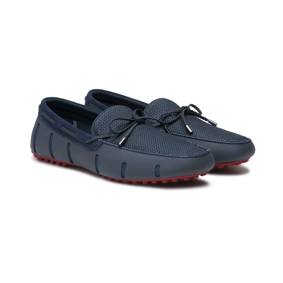 SWIMS BRAIDED LACE LUX LOAFER DRIVER 21290 NAVY DEEP RED
