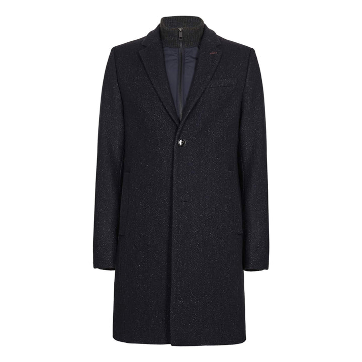 TED BAKER L/S SAFFEND SEMI PLAIN WOOL OVERCOAT 159162 NAVY