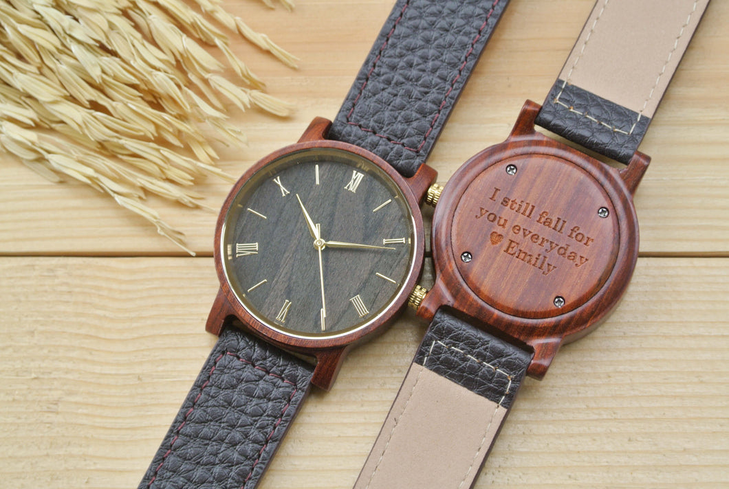 Engraved Wooden Watches for Men | Husband Birthday