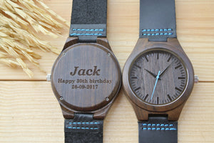 Personalized Mens Wood Watch Engraved | Birthday Gifts