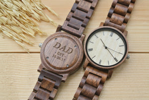 Personalized Mens Wooden Watch Engraved | New Dad Gifts