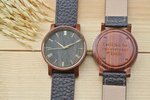Engraved Wood Watch for Men | Husband Birthday