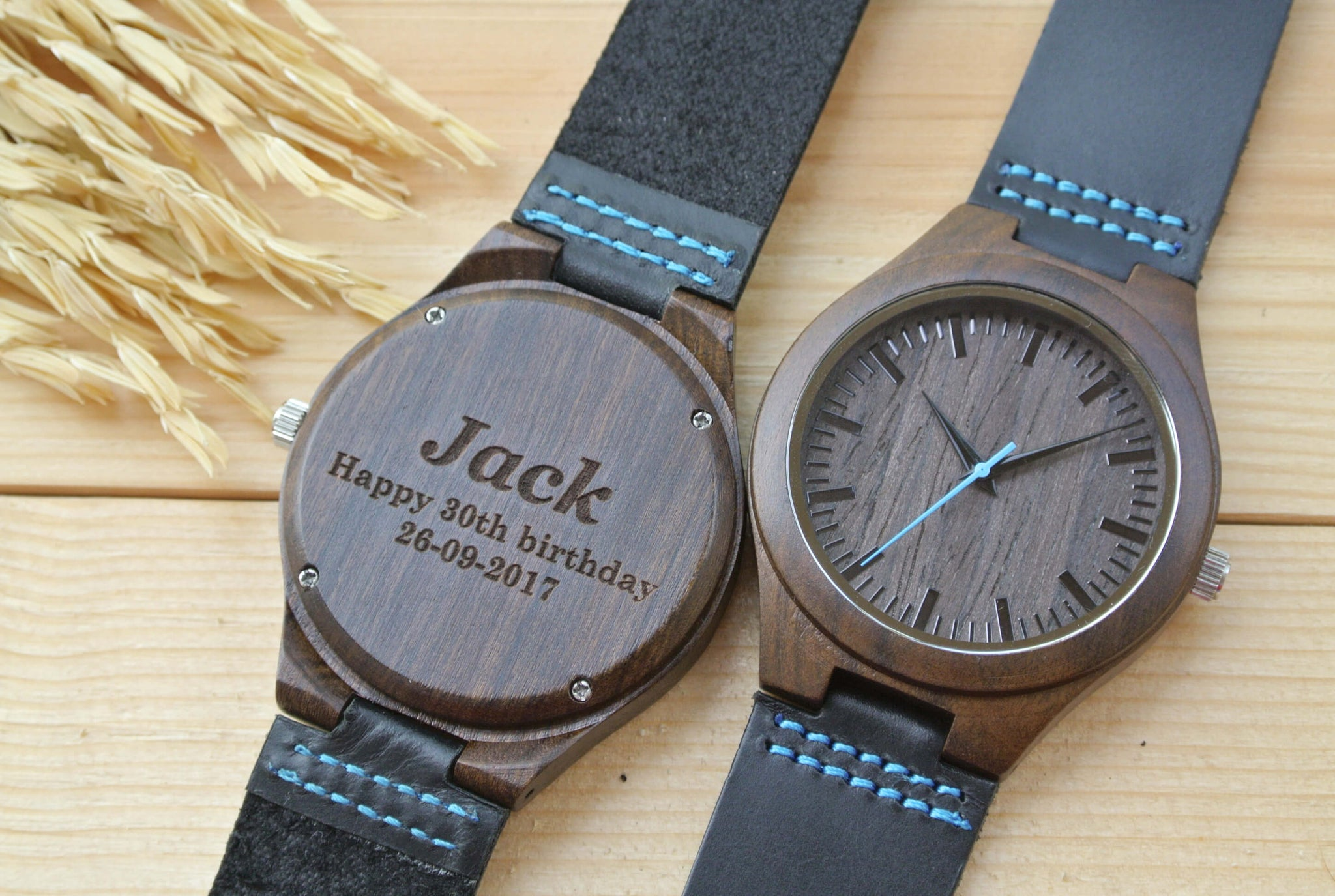 custom design hut and sunglasses wood leather watches bamboo wooden men watch tree