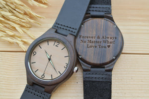 Mens Wooden Watches Engraved | Anniversary Gift for Boyfriend