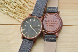 Engraved Wooden Watch for Men | Husband Birthday