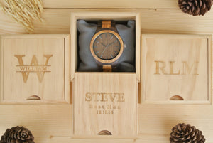 Box of Mens Wood Watch Engraved | Gifts for Husband