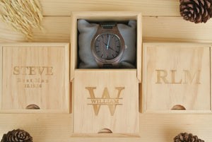 Box of Personalized Mens Wooden Watch Engraved | Birthday Gifts