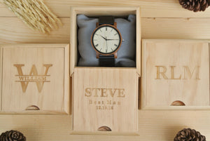 Box of Mens Wooden Watch Engraved | 1st Anniversary Gift