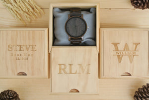 Box of Personalized Engraved Wooden Watches for men | Gifts for Dad