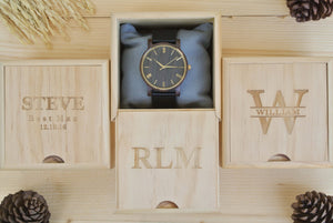 Box of Personalized Engraved Wooden Watch for Men | Mens Gift