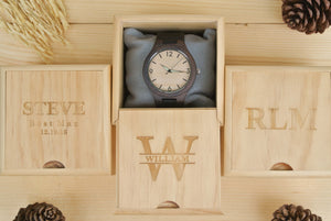 Box for Mens Wooden Watches Engraved | Anniversary Gift for Boyfriend