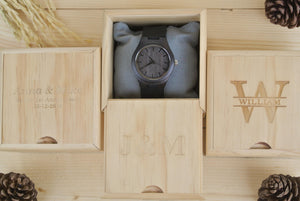 Box of Couples Wooden Watch Engraved | Wedding Anniversary Gifts