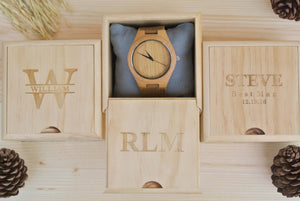 Box of Engraved Wooden Watches for Men | Anniversary Gift