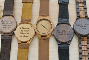 Engraved Wood Watches for Men | Anniversary Gift
