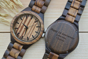 Engraved Wooden Watches for Men | Anniversary Gifts for Men