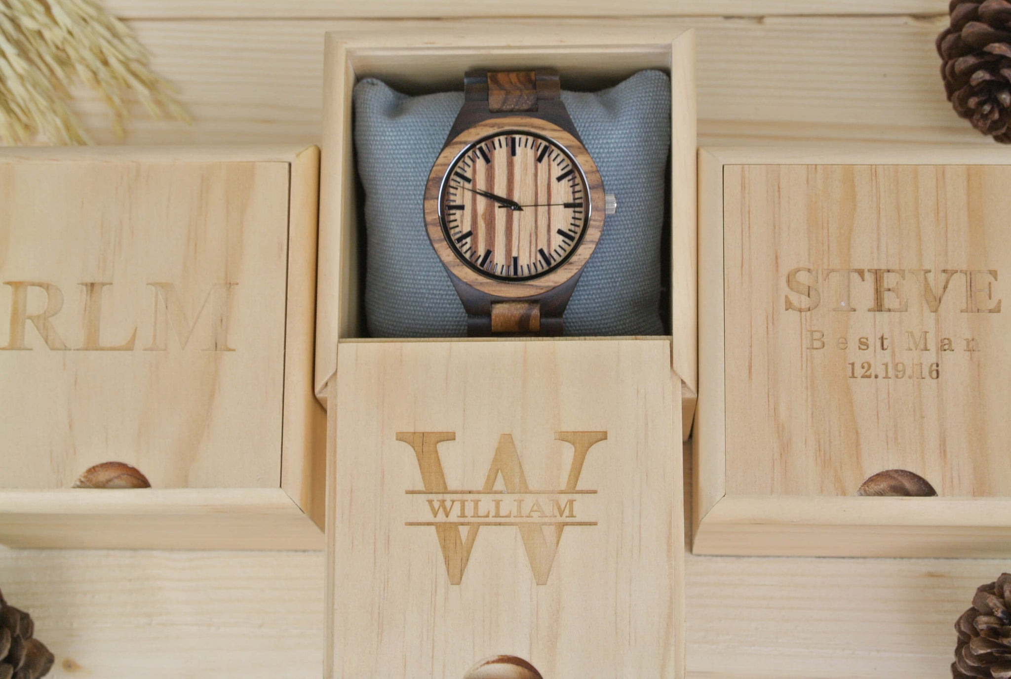 Box Of Engraved Wooden Watch For Men