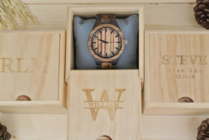 Box of Engraved Wooden Watch for Men | Anniversary Gifts for Men