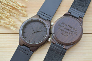 Mens Wood Watch Engraved | Wedding Anniversary Gift