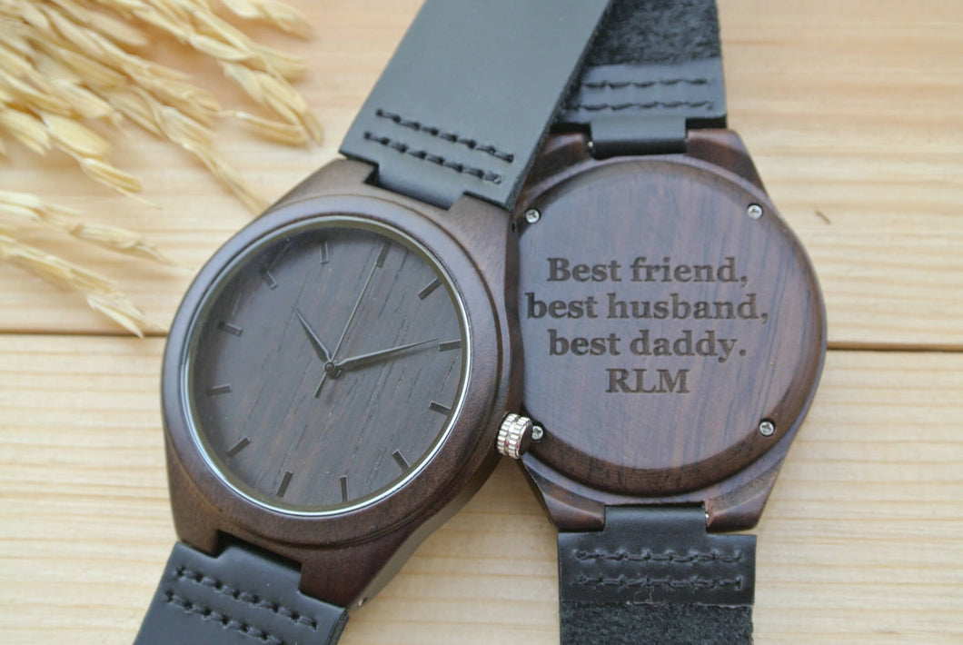 Mens Wood Watches Engraved | Wedding Anniversary Gift