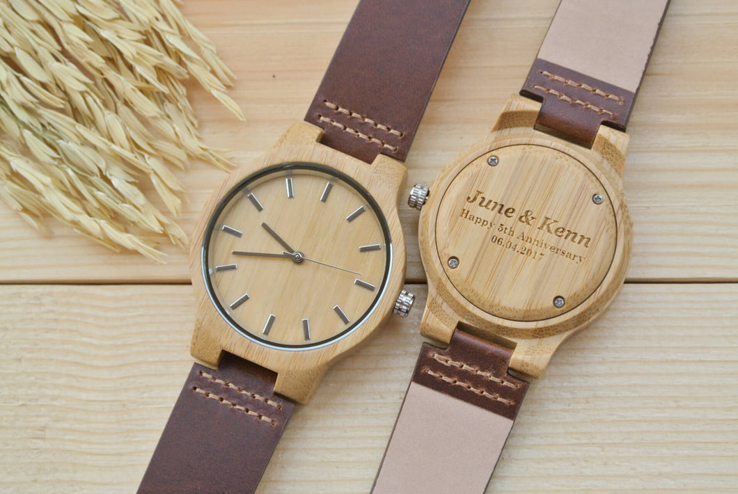Mens Wooden Watch Engraved | 5th Anniversary Gifts