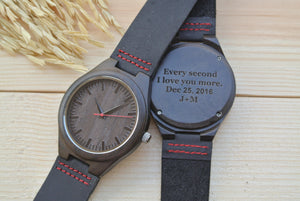 Mens Wood Watches Engraved | Gift for Boyfriend