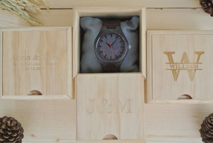 Box of Mens Wood Watch Engraved | Gift for Boyfriend