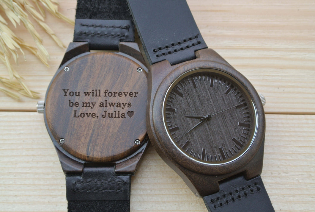 Mens Wooden Watch Engraved | Husband Gifts