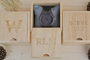 Box of Mens Wooden Watch Engraved | Husband Gifts