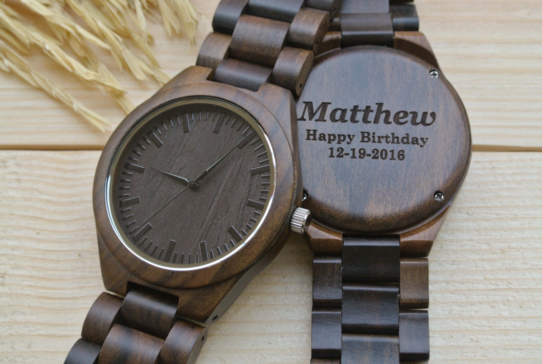Personalized Engraved Wooden Watch for Men WW4401