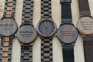 Personalized Engraved Wood Watches for Men