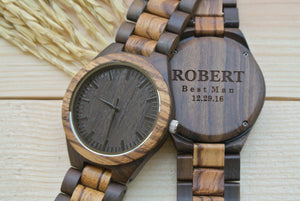 Personalized Engraved Wooden Watches for Men | Groomsmen Gifts