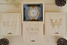 Box of Personalized Mens Wooden Watch Engraved | Birthday Gift for Him