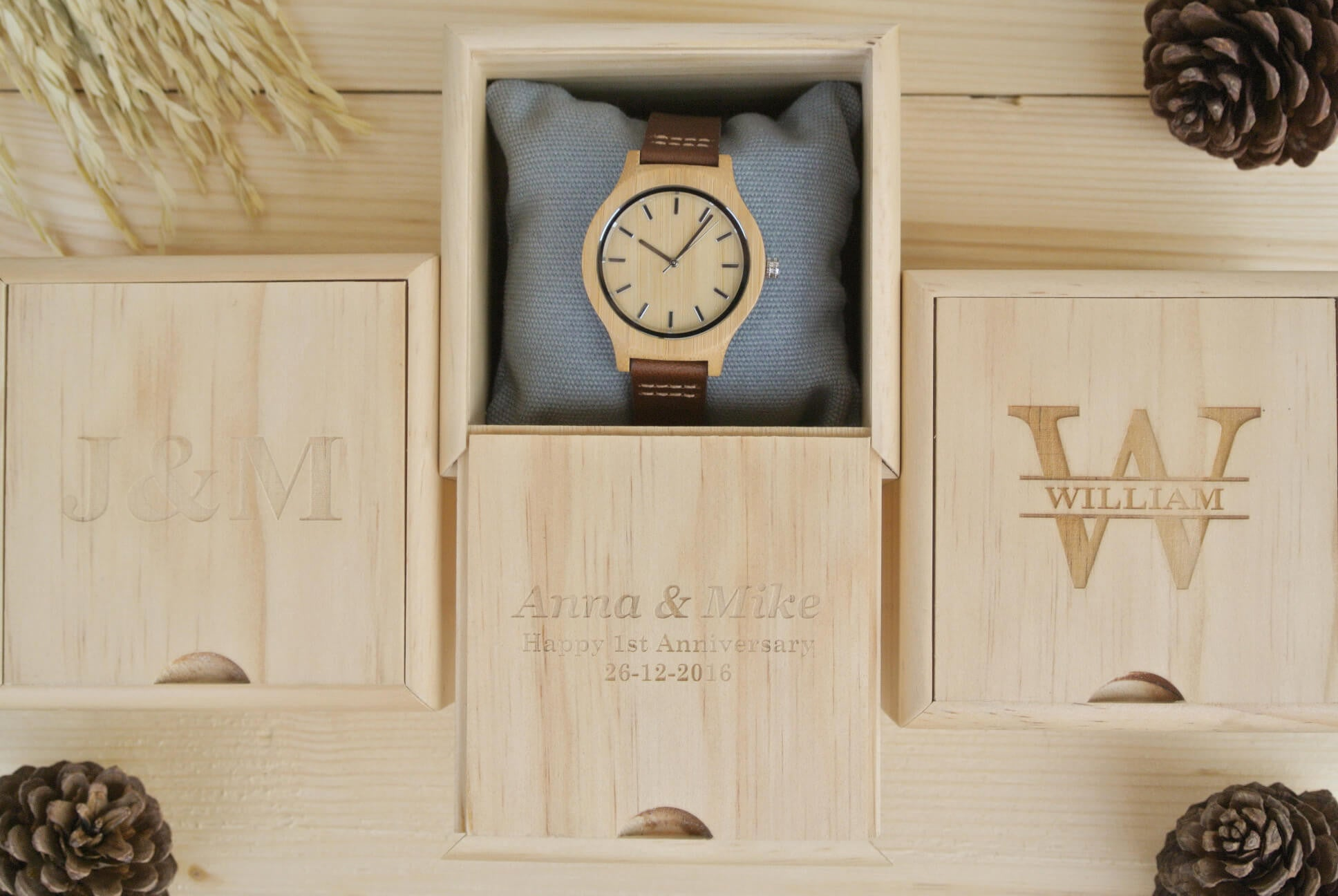 Box Of Womens Wooden Watch Engraved