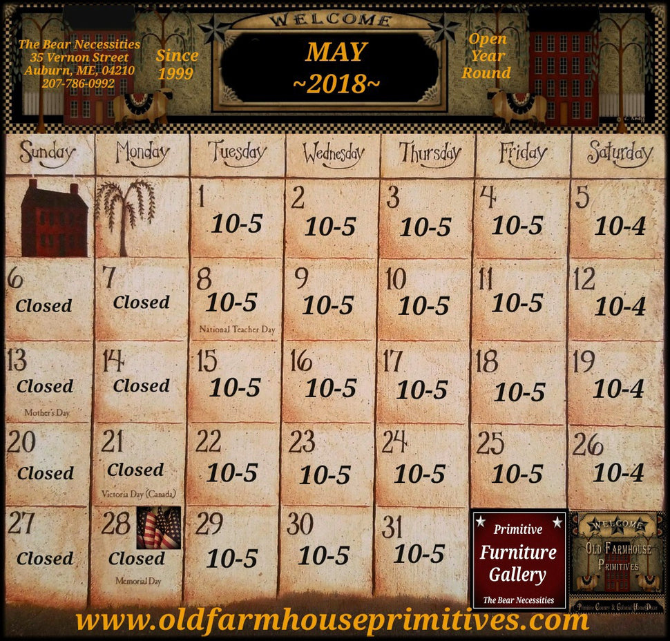 Old Farmhouse Primitives May 2018 Calendar