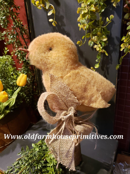 #TBH18 Primitive Tall Spring Chick 🐣 On Antique Spool With Burlap Bow (Made In USA) BACK IN STOCK!