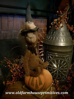 #RC23 Primitive Halloween Witch Bear Sitting On Pumpkin 🎃 (Made In USA)